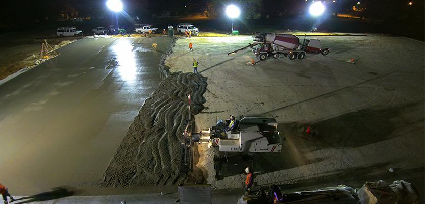 Pouring concrete floor